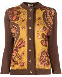 Hermès Cárdigan con paneles con motivo floral 1990 - Marrón