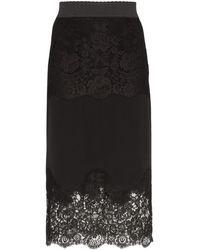 Dolce & Gabbana Юбка-карандаш С Кружевными Вставками - Черный