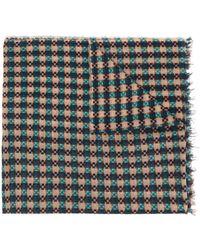 Faliero Sarti Fringed Checked Pattern Scarf - Multicolour