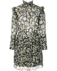Robert Rodriguez Floral Frill Mini Dress - Black