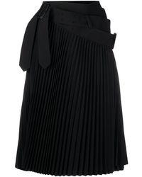 Junya Watanabe Плиссированная Юбка Асимметричного Кроя - Черный