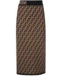 Fendi - Intarsia Stretch-knit Pencil Skirt - Lyst