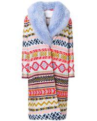 Giada Benincasa - Fur-lined Embroidered Coat - Lyst