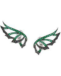 Stephen Webster 'magnipheasand' Diamond And Emerald Earrings - Groen
