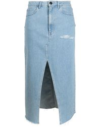 3x1 ダメージ デニムスカート - ブルー