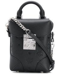 MCM Embossed Monogram Bucket Bag - Black