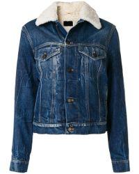 Saint Laurent - Shearling Denim Jacket - Lyst