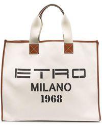 Etro Logo-print Canvas Tote Bag - Multicolor