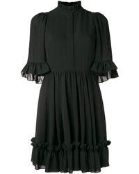 Alexander McQueen Ruffle Trim Mini Dress - Черный
