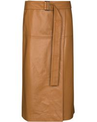 JOSEPH Salic レザー ラップスカート - ブラウン