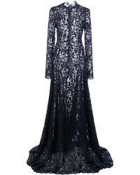 Oscar de la Renta Flared-skirt Lace Gown - Blue