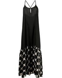 Masnada Vestido largo con estampado geométrico - Negro