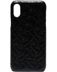 Burberry Funda para iPhone X con logo en relieve - Negro