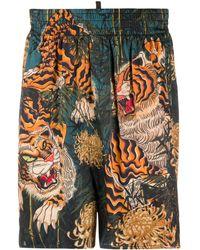 DSquared² Shorts mit Tiger-Print - Schwarz