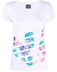 EA7 T-shirt à logo imprimé - Blanc