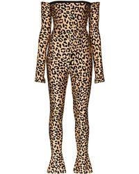 Halpern Комбинезон С Открытыми Плечами И Леопардовым Принтом - Многоцветный