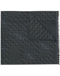 Fendi モノグラム スカーフ - グレー
