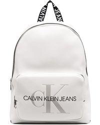 Calvin Klein Logo Print Backpack - White