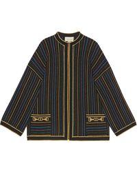 Gucci - Veste en laine à rayures en lamé - Lyst