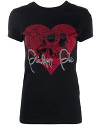 Philipp Plein Love Plein ラインストーンスカル Tシャツ - ブラック