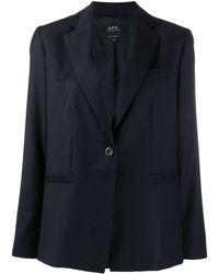 A.P.C. Blazer droit classique - Bleu