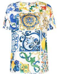 Dolce & Gabbana Majolica Print Top - Blue