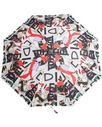 Burberry Graffiti Archive Scarf Print Folding Umbrella - White