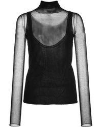 PROENZA SCHOULER WHITE LABEL Layered Gauge Knit Turtleneck Top - Black