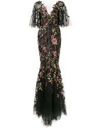 Marchesa フローラル シアードレス - ブラック