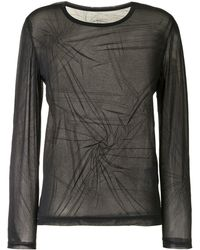 Y's Yohji Yamamoto Sheer Ruched Long-sleeved Top - Black