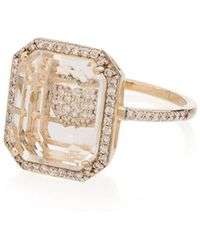 Mateo 14kt Gold M Diamond Initial Ring - Metallic