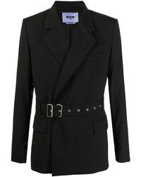 MSGM ベルテッド シングルジャケット - ブラック
