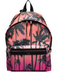 Saint Laurent City Palm Print Backpack - Pink