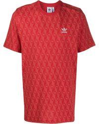adidas T-Shirt mit Logo-Print - Rot