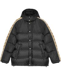 Gucci Monogram Pattern Padded Coat - Black
