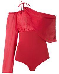 Amir Slama Drape One Shoulder Body - Red