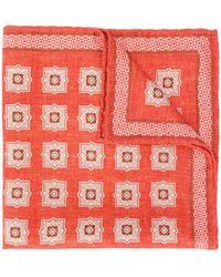 Brunello Cucinelli Pañuelo de bolsillo con estampado de azulejo - Naranja