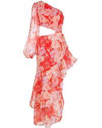 Alexis Sabetta Asymmetrical Floral Print Dress - Red