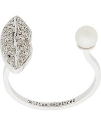 Delfina Delettrez - 18kt White Gold Lips Piercing Ring - Lyst