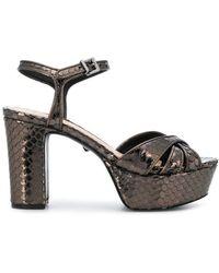 Schutz Sandalias de plataforma con motivo de piel de serpiente - Marrón