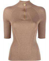 Lanvin Half-zip Knit Top - Brown