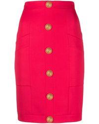 Balmain エンボスボタン スカート - ピンク