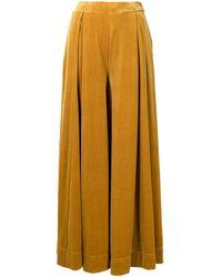 Maison Mihara Yasuhiro Full-length Velvet Palazzo Trousers - Yellow
