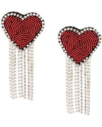 Venessa Arizaga Love Heart Earrings - Red