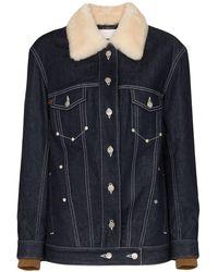 Chloé Shearling Collar Denim Jacket - Blue