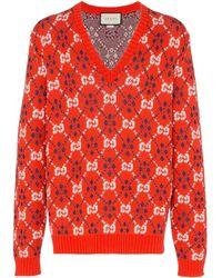 Gucci Jersey con logo GG - Rojo