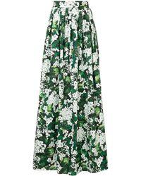 Dolce & Gabbana フローラル プリーツスカート - グリーン