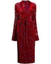 Ann Demeulemeester Floral Jacquard Wrap Dress - Red