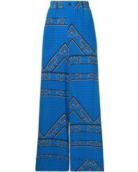 Ganni フローラル ワイドパンツ - ブルー