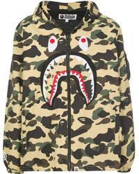 A Bathing Ape Camouflage Shark Zip-front Jacket - Green